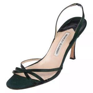 38.5 Manolo Blahnik emerald green satin heels